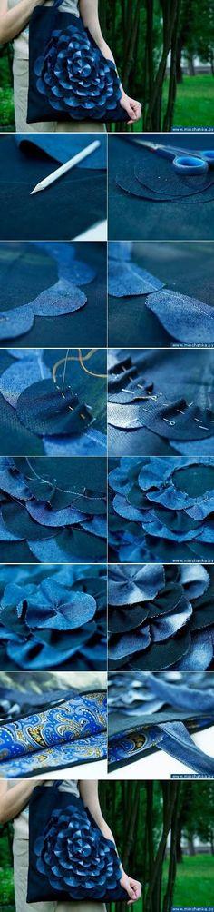 ARTESANATO COM QUIANE - Paps,Moldes,E.V.A,Feltro,Costuras,Fofuchas 3D: Esquema para fazer a flor da bolsa Jeans - Faça você mesmo aqui: http://www.artecomquiane.com/2016/08/esquema-para-fazer-flor-da-bolsa-jeans.html