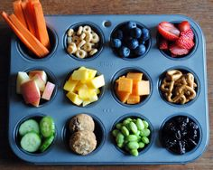 Today's food post is a fun kids snack idea that I have been using all summer. By offering many different foods and serving them in muffin tins or ice cube trays I have changed the snack time game....