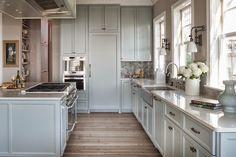 soft blue cabinets. kitchen   Mondavi Home + Reu Architects