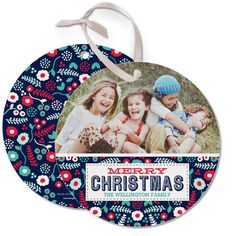 Stand out in the stack with this 'Lush #Christmas' circle card design in a chic baltic blue print.