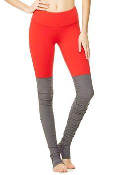 A pop of fiery red on the Alo Yoga Goddess Legging sets them apart from your everyday yoga leggings #brightisthenewblack #yogalegging #aloyoga http://evolvefitwear.com