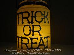 Halloween Lantern SCARY CAT & Trick or by MYSTICALLYENCHANTING, $13.50