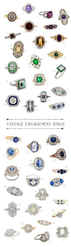 "All of those candy colored ring boxes from The Mrs. Box had me dreaming of candy colored engagement rings – vintage of course! So I've rounded up some of the yummiest vintage engagement rings I could find…  Purple, Red, Yellow Stones 1. ""Aliya"" Smoky Quartz Ring from Brilliant …"