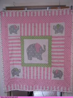 Elephants around Quilt Pattern | Machine quilting a pink and grey baby cot quilt with elephants