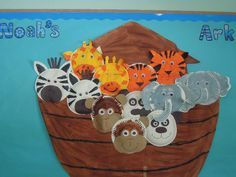 Noah's Ark classroom display photo - Photo gallery - SparkleBox Add a lion and hippo