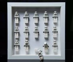 """Up where you belong - - """"We are just troopers for display. Decoration Star Wars, Star Wars Decor, Lego Stormtrooper, Lego Display, Cadre Star Wars, Roman Clock, Star Wars Bedroom, Lego Room, Metal Clock"""