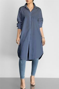 $27.99 Solid Color Shirt Dress  #solidcolor #shirtdress #longshirt