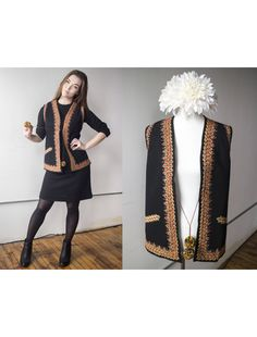 4685d61d0733 Vintage Ukrainian Embroidered Wool Vest w  Rainbow Pom-Poms - Size M L by AveryVintageShop  on Etsy