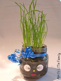 Fun idea for a child's party. It's a homemade chia pet!