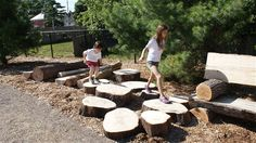 Young girls navigate an obstacle course at the Matilda Street Natural Playground in Hamilton, Ontario. Edmonton will soon be getting its first natural playground as part of a growing nationwide movement to connect kids with nature. (Courtesy Bienenstock Design and Consulting)