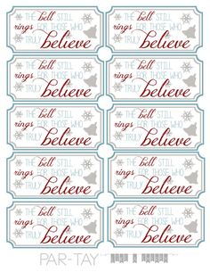 perfect party favor for your polar express themed bash, free printable tags Polar Express Bell, Polar Express Theme, Polar Express Movie, Polar Express Christmas Party, Ward Christmas Party, Christmas Tag, Free Printable Christmas Gift Tags, Christmas Crafts, Ideas