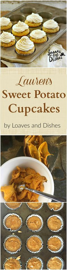 Delicious Cupcakes made from LEFT OVER SWEET POTATOES! Maple Cream Cheese Icing. Make the magical cupcakes today! www.loavesanddishes.net