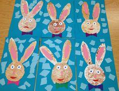 Kindergarten Art- sponge painted rabbits(art teacher: v. giannetto)