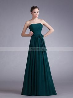Strapless Ruched Chiffon A Line Floor Length Bridesmaid Dress