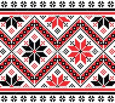Folk Embroidery Patterns Vector illustration of traditional folk embroidery pattern from Bulgaria. Embroidery with proper geometry and stylized red and black flowers. The artwork may be used as a template and easy to modify - Folk Embroidery, Learn Embroidery, Embroidery Patterns, Cross Stitch Patterns, Machine Embroidery, Contemporary Art For Sale, Photo Pattern, Black Flowers, Antique Quilts