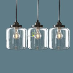 "Modern 3 Clear Glass Bottles Pendant Lighting in Brushed Finish Size :D7.08"" x H7.48"" Cord length:59"" Materials:glass,metal Cap type:E26/27 voltage:110V-240V Wattage:30-60W"
