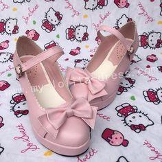 Bows Single Strap Lolita Shoes | pink or white, lowest heel, 39EU, matte
