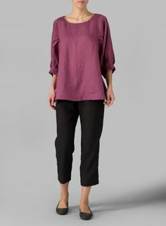 MISSY Clothing - Linen Pleated Sleeve Top