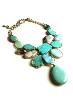 Turquoise statement necklace - I am half Native American, Cherokee, Yurok and Zuni - Zuni are known for their work in turquoise - I always think of my ancestors when I see it. Love it.