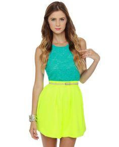 Everything Illuminated Neon Yellow Skirt