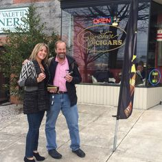 Bianca and Steve Cook ready to light up at our first #DCigarTweetup event of the evening at Signature Cigars DC!