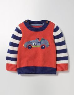 This Fair Isle knit jumper is almost as sweet as your little one. Featuring knitted cars or ducks, it's just the thing for family photos. The cashmere blend is ridiculously soft but you can still pop it in the washing machine. Aran Knitting Patterns, Knitting Designs, Knit Patterns, Baby Knitting, Baby Pullover, Baby Cardigan, Baby Crayons, Toddler Outfits, Boy Outfits