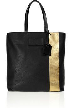 Gym Bag metallic-striped leather tote by Reed Krakoff Leather Handbags, Leather Bag, Gold Leather, My Bags, Purses And Bags, Handbag Accessories, Fashion Accessories, Weekender, Reed Krakoff