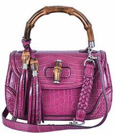 b927e81d39b0 The Gucci New 240242 000 Pink Bamboo Convertible Handbag Purse Multi-color  Crocodile Alligator Shoulder Bag is a top 10 member favorite on Tradesy.