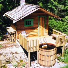You Simply Can't Buy a Better Western Red Cedar Hot Tub! Ordering your Western Red Cedar Hot Tub is easier than ever before. Outdoor Sauna, Outdoor Baths, Tiny Cabins, Tiny House Cabin, Rustic Saunas, Sauna House, House Bath, Sauna Design, Bathtub Decor