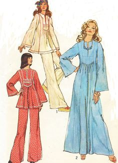1970s Simplicity Sewing Pattern 6044 Womens Hippie by CloesCloset