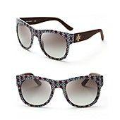 Tory Burch Printed Wayfarer Sunglasses.