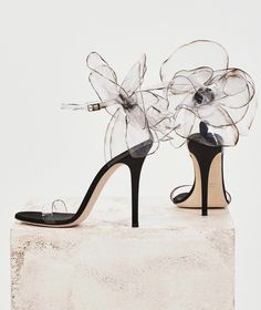 These couture sandals are made from transparent vinyl with inserts in black satin and suede Stilettos, Pumps Heels, Stiletto Heels, High Heels, Sandal Heels, Strap Sandals, Dream Shoes, Crazy Shoes, Cute Shoes