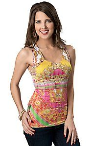 Panhandle Slim® Womens Hot Pink and Yellow Print with Lace Back Tank