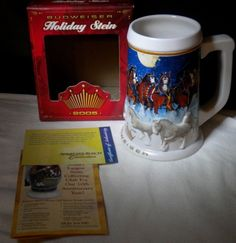 2005 Budweiser Holiday Clydesdales Stein Christmas Mug Bud Beer Cup Box COA