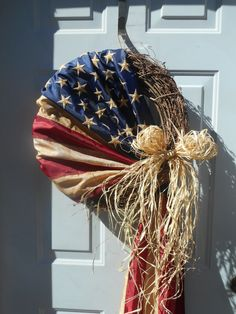 Patriotic wreath American flag wreath country by ChloesCraftCloset