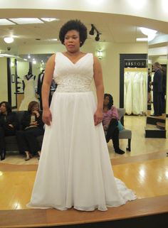 Season 7 Featured Dresses, Part 7. Erica. Dress info: James Clifford. White. Chiffon. V-neck with straps. Beaded detail under bust. Rouched bust. A-line skirt. $2,400.00 (50% off). #Weddings #SYTTD