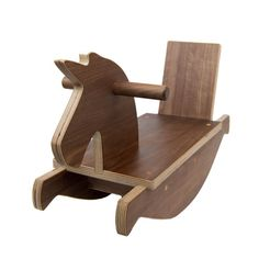 Walnut Wooden Toy Rocking Unicorn