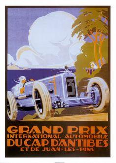 Vintage Race Posters - Grand Prix - International Automobile - Du Cap d'Antibes et de Juan-Les-Pins.