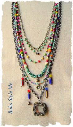 This colorful boho necklace is layered with a mix of glass and stone beads. Included in this necklace is genuine turquoise, trade beads, glass rings, aged wood, chevron tube beads, glass seed beads and Czech glass beads. Combined, the strands create a vibrant sunny color palette. The