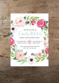 Floral wreath birthday invitation watercolour invitation