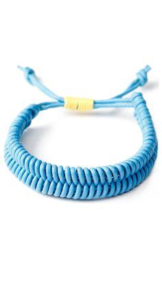 {Fish Bone Bracelet, Sky Blue} leather & cotton cording