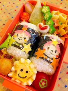 Yuki Kawasumi's dish photo 七夕 彦星 織姫 俵お握り   http://snapdish.co #SnapDish #お弁当 #キャラ弁 #七夕