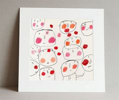 giclée art print red cheeks drawing 20 x 20 cm by RedCheeksFactory,