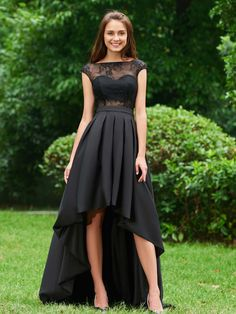 This is a stunning dress for your next diner party. Also a great choice for a night-out or a wedding and prom. You should take a look at this Cute A Line Cap Sleeve Lace High Low Prom Dress Related High Low Prom Dresses, Black Prom Dresses, A Line Prom Dresses, Cheap Prom Dresses, Cute Dresses, Dress Prom, Party Dresses, Evening Party Gowns, Evening Dresses