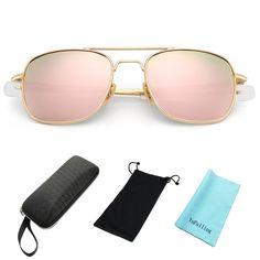 f79e521e7afc8 Retro Polarized Aviator Sunglasses for Men and Women - Gold Frame Pink Lens  - CV1845L8I2D