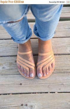 On sale Greek Sandals Slip on Sandals Summer Flats Leather #sandalschic