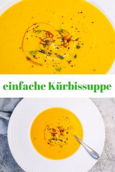 simple pumpkin soup - so delicious- einfache Kürbissuppe – so lecker This recipe for a simple pumpkin soup with coconut milk and orange juice is great for the But even without Thermomix, the pumpkin syrup will be pretty creamy. Easy Soup Recipes, Pumpkin Recipes, Easy Healthy Recipes, Vegetable Protein, Vegetable Drinks, Healthy Eating Tips, Healthy Nutrition, Vitamine B12, Coconut Milk Soup