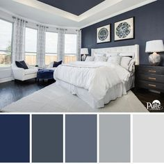 Living room color schemes - This bedroom design has the right idea The rich blue color palette and decor create a dreamy space that begs you to kick back and relax Pulte Homes ad Pulte Homes, Guest Bedroom Colors, Master Bedroom Color Ideas, Paint Ideas For Bedroom, Bed Room Color Ideas, Popular Bedroom Colors, Blue Bedroom Ideas For Couples, Relaxing Bedroom Colors, Guest Rooms