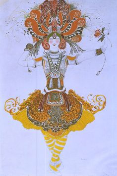 Leon Bakst - designer  Costume for Tamara Karsavina in 'The Firebird'   Diaghilev Ballets Russes, 1909
