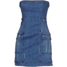 Pierre Balmain Short Dress ($320) ❤ liked on Polyvore featuring dresses, blue, short dresses, blue sleeveless dress, no sleeve dress, deep v-neck dress and zipper mini dress